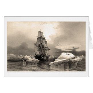 Nave en medio de los icebergs tarjeta de felicitación