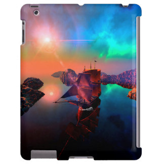 Nave en una puesta del sol impresionante funda para iPad