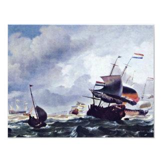 """Nave en una tormenta de Ludolf Bakhuizen (la mejor Invitación 4.25"""" X 5.5"""""""