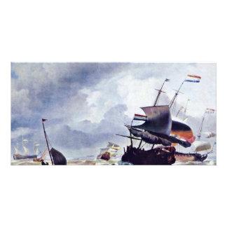Nave en una tormenta de Ludolf Bakhuizen (la mejor Tarjeta Con Foto Personalizada