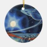 Nave espacial azul de la ciencia ficción del vinta ornamento de reyes magos