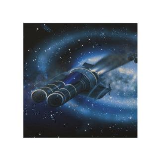 Nave espacial de la ciencia ficción impresión en madera