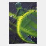 Nave espacial del planeta w del verde de la cienci toalla de mano