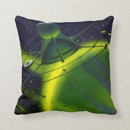 Nave espacial del planeta w del verde de la almohada