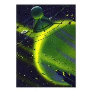 Nave espacial del planeta w del verde de la invitación 12,7 x 17,8 cm