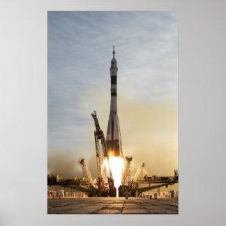 Nave espacial del poster del lanzamiento de Soyuz