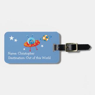Nave espacial extranjera etiquetas para maletas