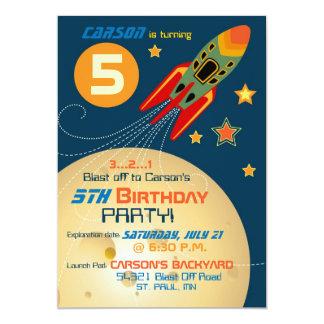 """Nave espacial, planetas, y cumpleaños de las invitación 5"""" x 7"""""""