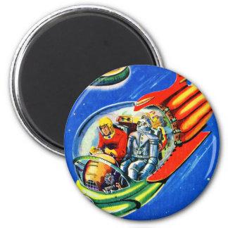 Nave espacial retra del viaje espacial de Sci Fi d Imán Redondo 5 Cm