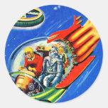 Nave espacial retra del viaje espacial de Sci Fi d Pegatinas Redondas