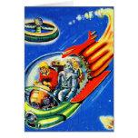 Nave espacial retra del viaje espacial de Sci Fi d Felicitacion
