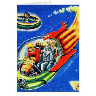 Nave espacial retra del viaje espacial de Sci Fi d Tarjeta De Felicitación