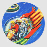 Nave espacial retra del viaje espacial de Sci Fi Pegatinas Redondas