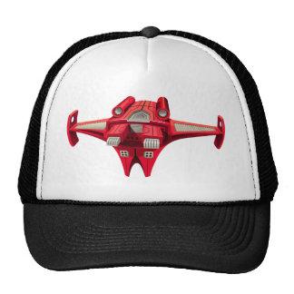 Nave espacial roja con el motor en el top gorras