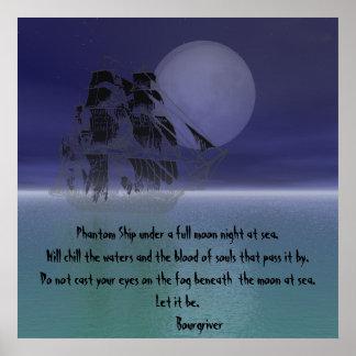 Nave fantasma bajo noche de la Luna Llena Póster