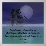 Nave fantasma bajo noche de la Luna Llena Posters