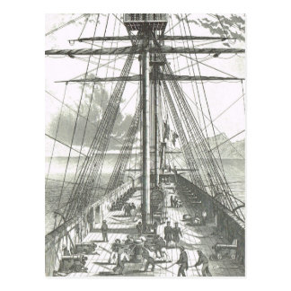 Nave francesa de la línea 1800s en actividades de postales