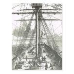 Nave francesa de la línea 1800s en actividades de  tarjeta postal