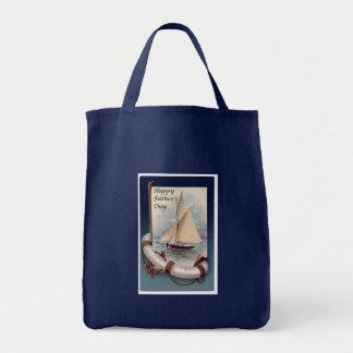 Nave náutica feliz del día de padres bolsa tela para la compra
