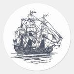 Nave náutica pegatina redonda