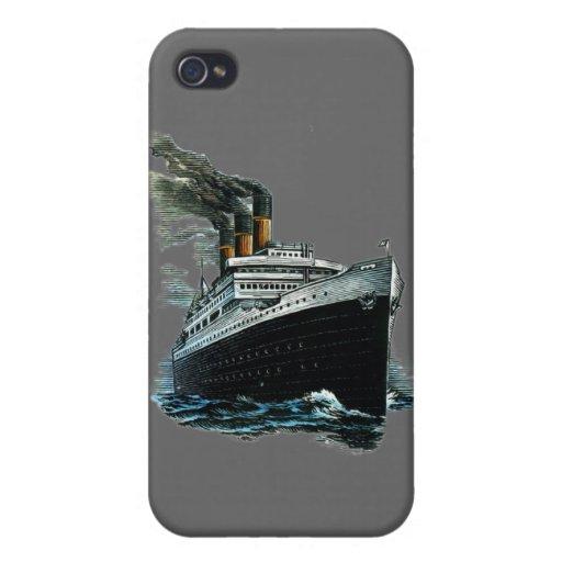 Nave negra del vapor iPhone 4 funda