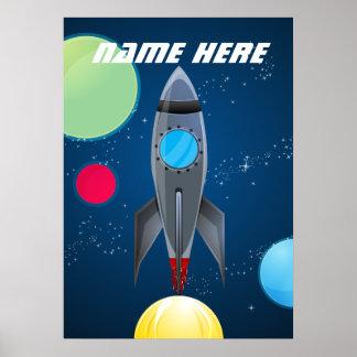 Nave personalizada de Rocket del espacio exterior Poster