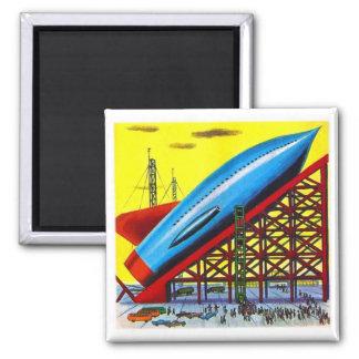 Nave retra de Rocket del dibujo animado de Sci Fi  Imán De Frigorifico