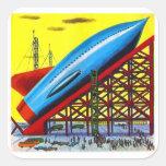 Nave retra de Rocket del dibujo animado de Sci Fi  Colcomanias Cuadradas