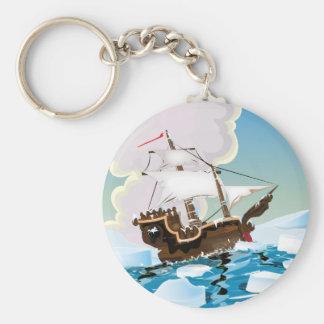 Nave vieja de la vela en el Océano ártico Llavero Redondo Tipo Pin