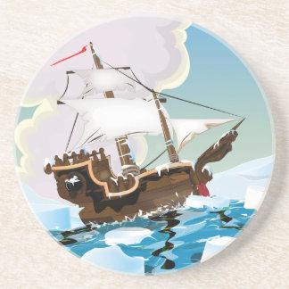 Nave vieja de la vela en el Océano ártico Posavasos Cerveza