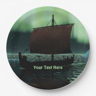 Nave y aurora boreal de Viking Plato De Papel De 9 Pulgadas