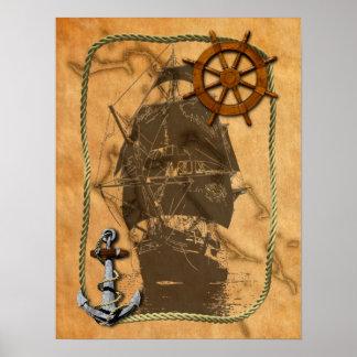 Nave y mapa náuticos del vintage posters