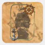 Nave y mapa náuticos del vintage pegatina cuadrada