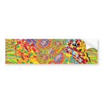 NAVEEN All Smiles: Abstract Flower Patterns Bumper Sticker