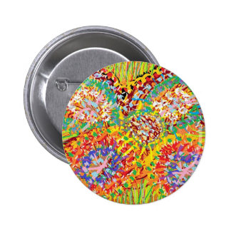 NAVEEN All Smiles: Abstract Flower Patterns Pinback Button