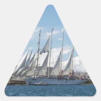 Navegación alta de la nave fuera del puerto pegatina triangular