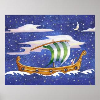 Navegación caprichosa de la nave en poster del esp