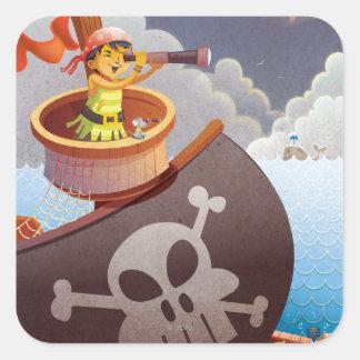 Navegación con los piratas pegatina cuadrada