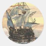 Navegación de Galleon del barco pirata del vintage Pegatina Redonda