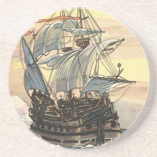 Navegación de Galleon del barco pirata del vintage Posavaso Para Bebida