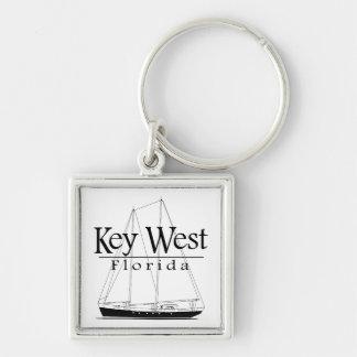 Navegación de Key West Llavero Cuadrado Plateado