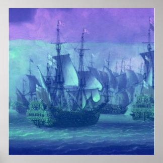 Navegación de la nave en los altos mares póster