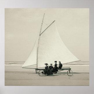 Navegación de la playa en Ormond la Florida 1900 Póster