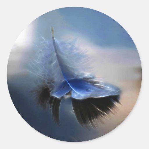 Navegación de la pluma blanca pegatina redonda