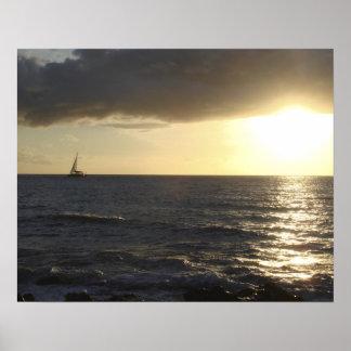 Navegación de la puesta del sol poster