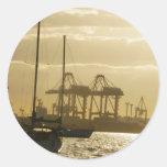 Navegación de la puesta del sol pegatina redonda