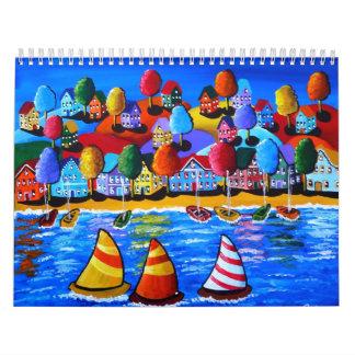 Navegación de las ilustraciones coloridas del calendarios
