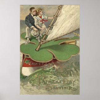 Navegación de los pares del velero del trébol póster
