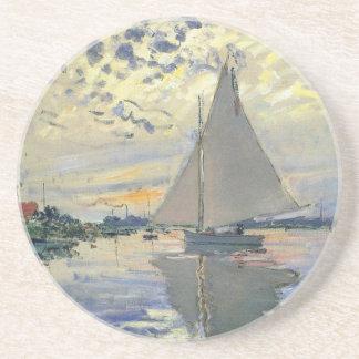 Navegación del agua del barco de Monet en Posavasos Personalizados