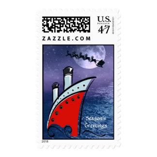 Navegación del barco de cruceros + Navidad Santa Sello Postal